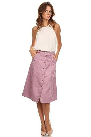 05c72d015 Lilac - Purple Faux Suede A-Line Button Front Pocket Skirt at Amazon ...