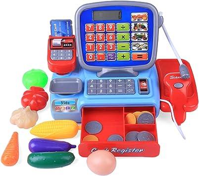 Seciie 23 Piezas Caja Registradora de Juguete Electrónica Supermercado para Niños con Escáner Calculadora y Micrófono Supermercado Juguete para Infantil: Amazon.es: Juguetes y juegos