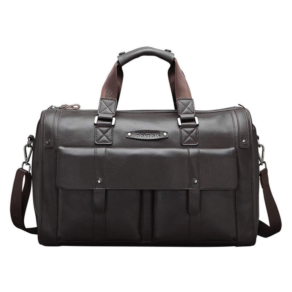 メンズトラベルバッグフィットネスビジネス荷物防水トートバッグ、大容量レザーファッションカジュアル用ショートトリップ (色 : ブラウン ぶらうん, サイズ さいず : L l) L l ブラウン ぶらうん B07MXJ3BN1