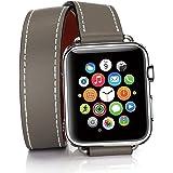 For Apple watchバンド 本物の革のダブルツアーアップルウォッチバンド 全10色 本革 交換バンド 高級 レザー ビジネス用 腕時計ベルト apple watch series 2 apple watch series 3 Apple Watch series 1 男女兼用 (38mm, ダークグレー)