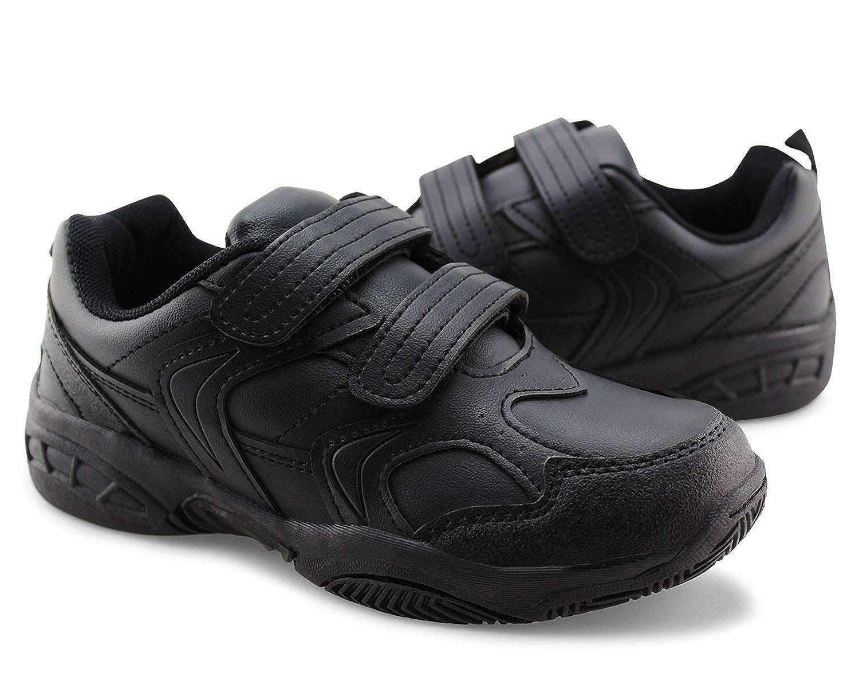 Jabasic Kids Running Sneakers White Black Hook and Loop School Uniform Shoes 2012
