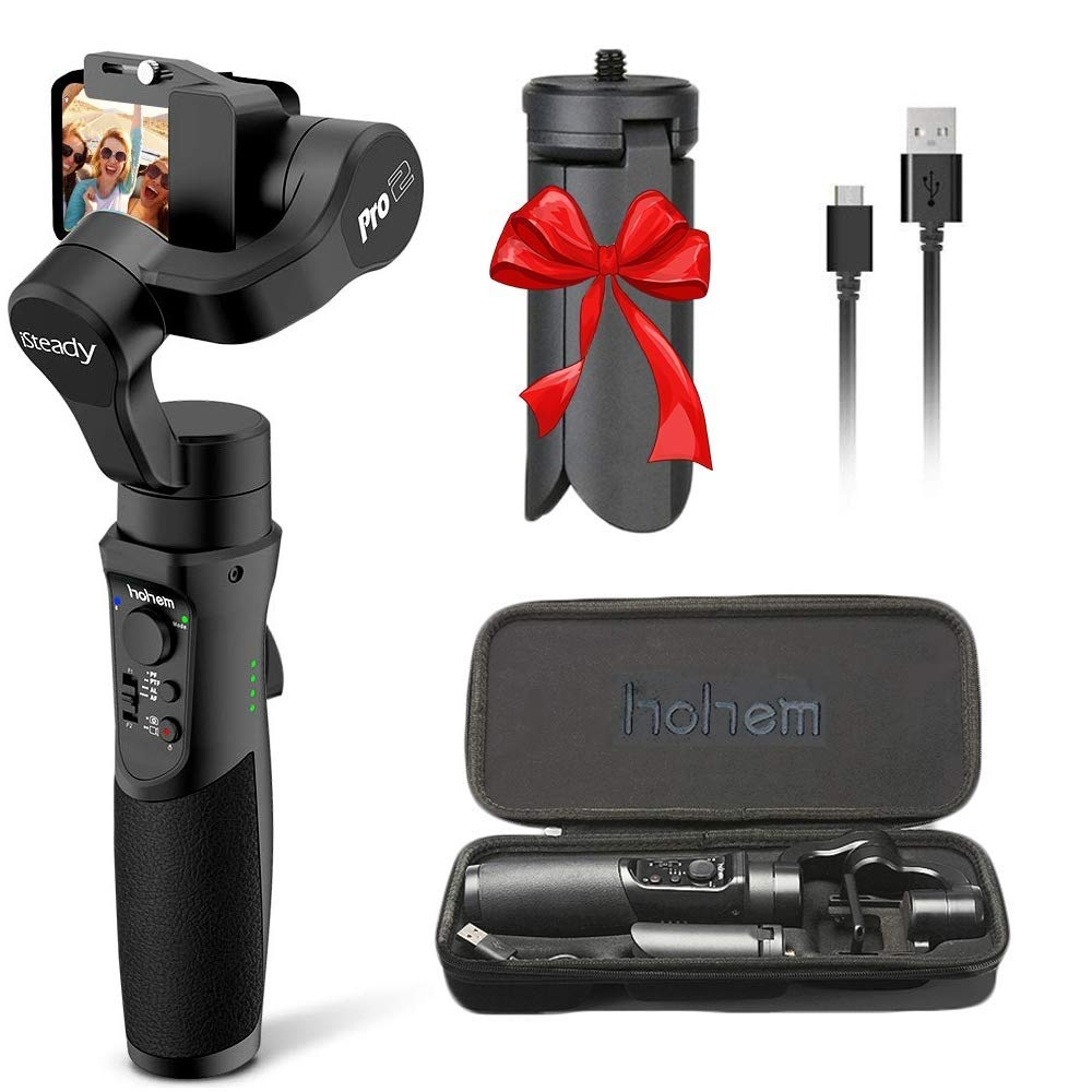 Hohem iSteady Pro 2, 3-Axis Handheld Gimbal Stabilizer for DJI OSMO, Gopro Hero 7/6/5/4/3, Yi Cam 4K, AEE, SJCAM Sports Cams, 12h Run-Time, APP Controls for Time-Lapse, Tracking, Auto Panoramas by hohem