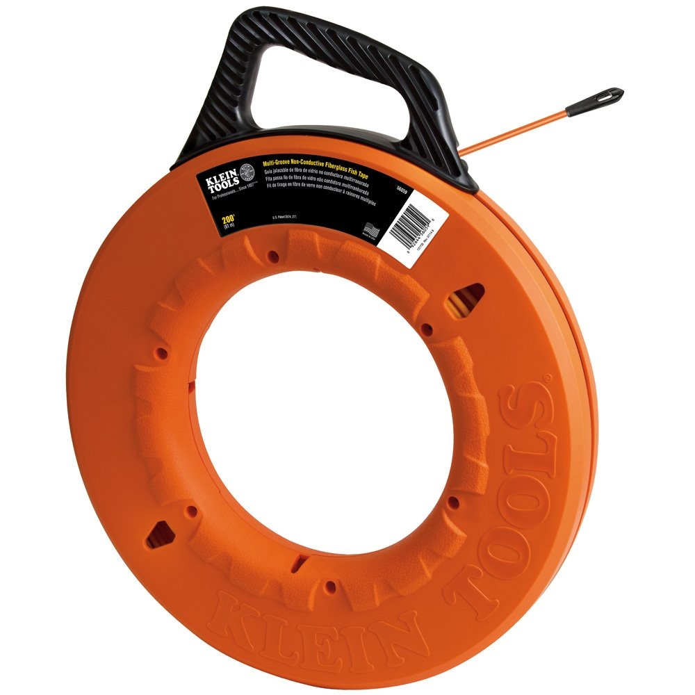 Klein Tools 56059 3/16-Inch Wide Grooved Fiberglass Fish Tape, 200-Foot