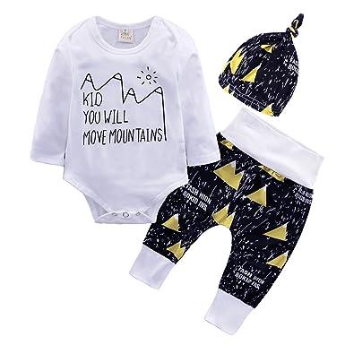 Bébé 3 pièces Vêtements Set Manches Longues Lettre imprimée Jumpsuit et  Pantalon et Chapeau Nouveau- 3e33a5dec63