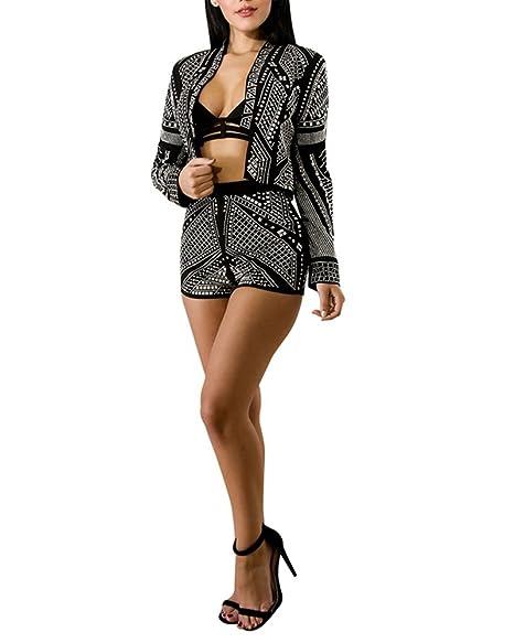 Mujer Chándal 2Pcs Conjuntos Chaqueta De Traje Manga Larga Blazer Y Pantalón  Corto Para Fiesta Negro XL  Amazon.es  Ropa y accesorios 3e89b52d890e