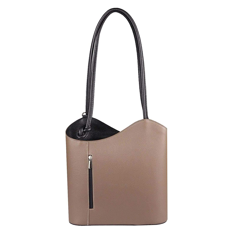 OBC Made in    Damen Ledertasche-Rucksack Shopper Tasche 2in1 Handtasche Umhängetasche Schultertasche Henkeltasche Backpack (Taupe-Schwarz) B01MXM4K5F Rucksackhandtaschen Online-Shop 833529