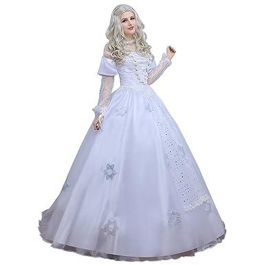Amazon.com: Angelaicos Womens White Queen Costume Long Lace Bridal ...