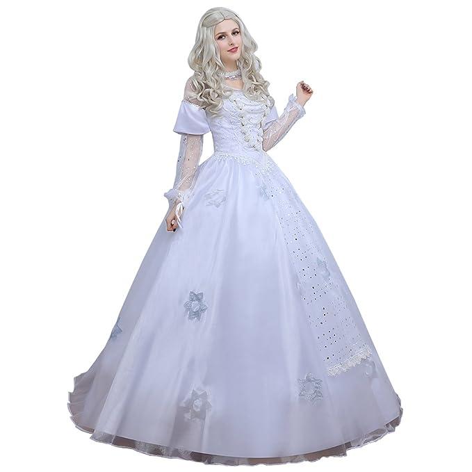 angelaicos – Disfraz de color blanco largo vestido de novia de encaje de lujo - Blanco