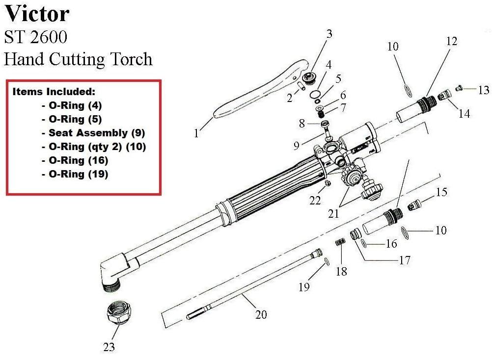 Victor ST900C /& ST900FC Cutting Torch Rebuild//Repair Parts Kit