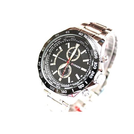 MOZISEN Relojes de Vestir 8186 Reloj para Hombre de Negocios Fake Tri-Eye Quartz Reloj Large Dial Reloj para Hombres: Amazon.es: Relojes