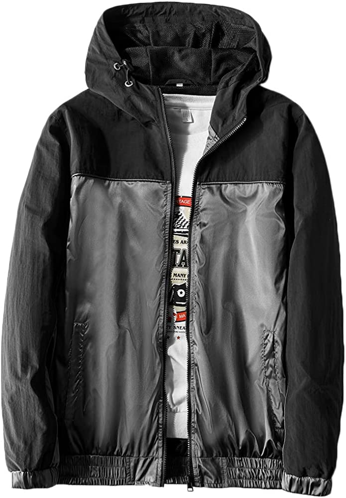 MADHERO Mens Windbreaker Jacket Lightweight 90s Retro Wind Breakers: Clothing