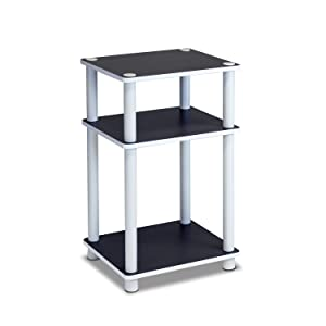 Furinno 11087 Just 3-Tier No Tools Dual Color Reversible End Table, White/Espresso