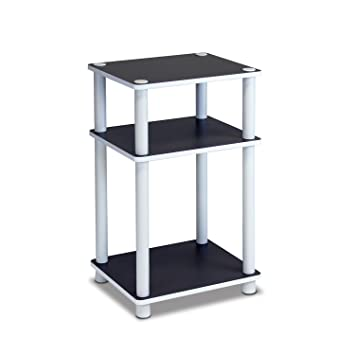 Furinno 11087 Just 3 Tier No Tools Dual Color Reversible End Table, White/