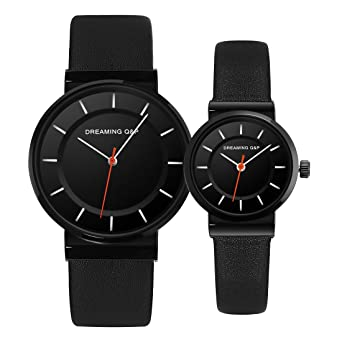 d3f6851257 Valentines' Unisex Black Pair Wrist Watches,Romantic His and Hers Simple  Casual Wristwatches for