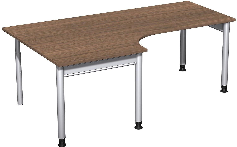 Geramöbel PC-Schreibtisch links höhenverstellbar, 2000x1200x680-820, Nussbaum/Silber