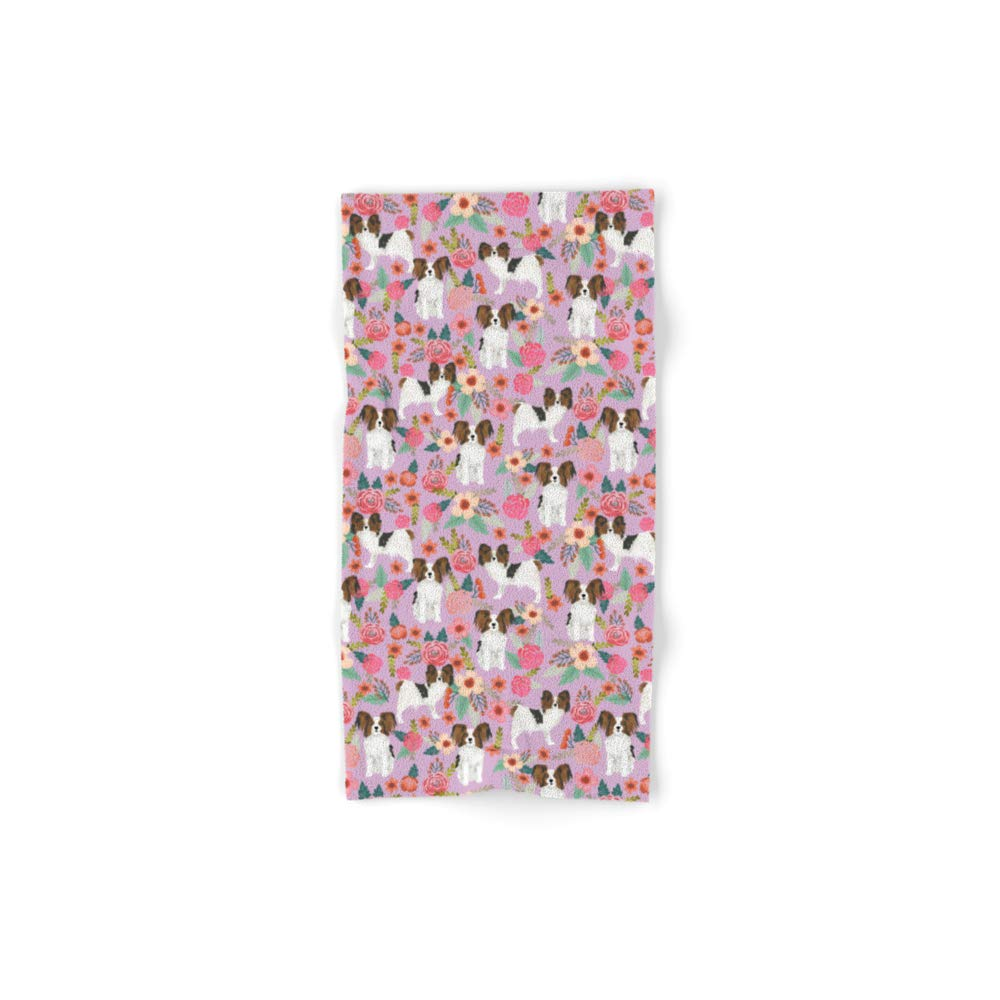 Society6 Bath Towel, 30'' x 15'', Papillon pet Friendly Small Cute Dog Breed Must Have Gift for Dog Lover Florals Dog Pattern Print by petfriendly