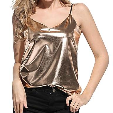 4a165b59b2c4 MRULIC Summer Elegant Ladies Women's Girls Casual Shiny Liquid Wet Look  Vest Top Camisole for Club Blouse Tanks: Amazon.co.uk: Clothing