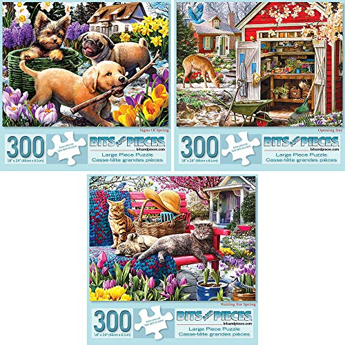 Bits and Pieces - Set of Three (3) 300 Piece Jigsaw Puzzles for Adults - Each Puzzle Measures 18 X 24 - Signs of Spring, Opening Day, Waiting for Spring Jigsaws by Artist Larry Jones