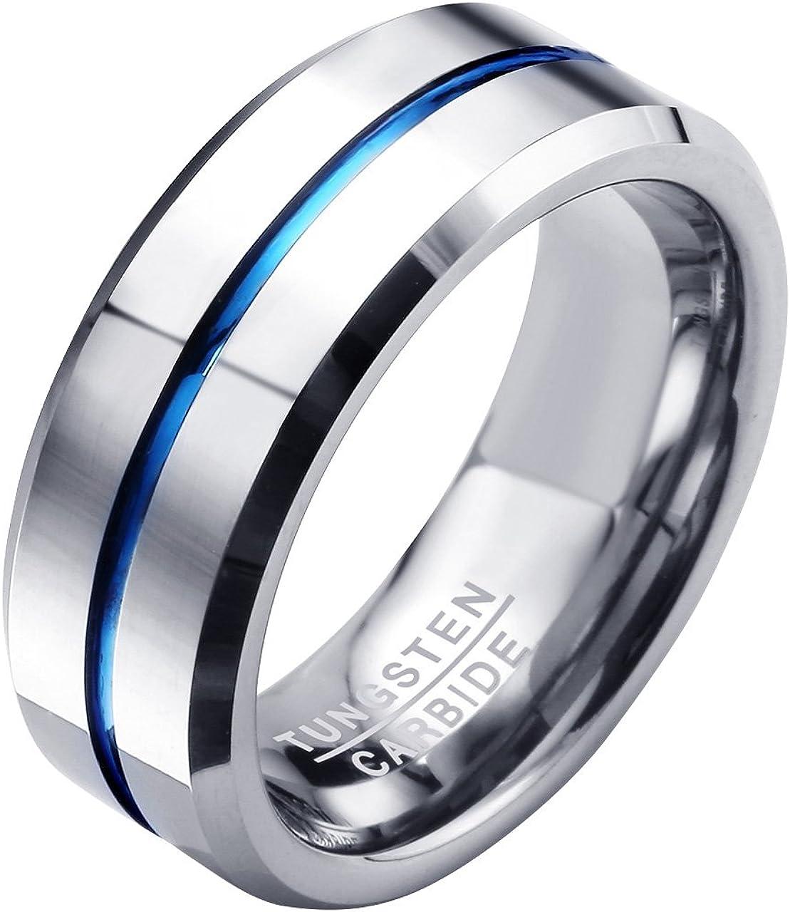 Titaniumcentral 6mm//8mm Wolframcarbid Ringe Gebürstet Trauringe Verlobungsringe DEWGJZ085S