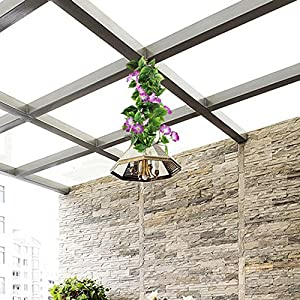 GTIDEA Artificial Vines, 2pcs 15Feet Morning Glory Hanging Plants Silk Garland Fake Green Plant Home Garden Wall Fence Stairway Outdoor Wedding Hanging Baskets Decor Purple 2