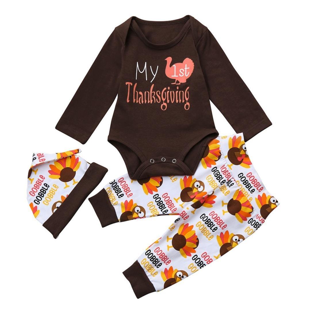 Lisin Newborn Infant Baby Thanksgiving Outfits Set Girl Boy Letter Romper Tops+Pants