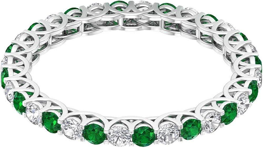 Anillo de novia de 3/4 ct certificado de 2 mm esmeralda, anillo de compromiso clásico de diamantes, anillo de eternidad de oro con piedras preciosas, 14K Oro