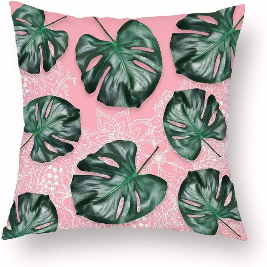 Amazon.com Throw Pillow Covers Green Tropical Leaves Palm ...