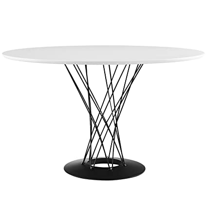 Modway Cyclone Mid-Century Modern Round Steel Pedestal Dining Table in White