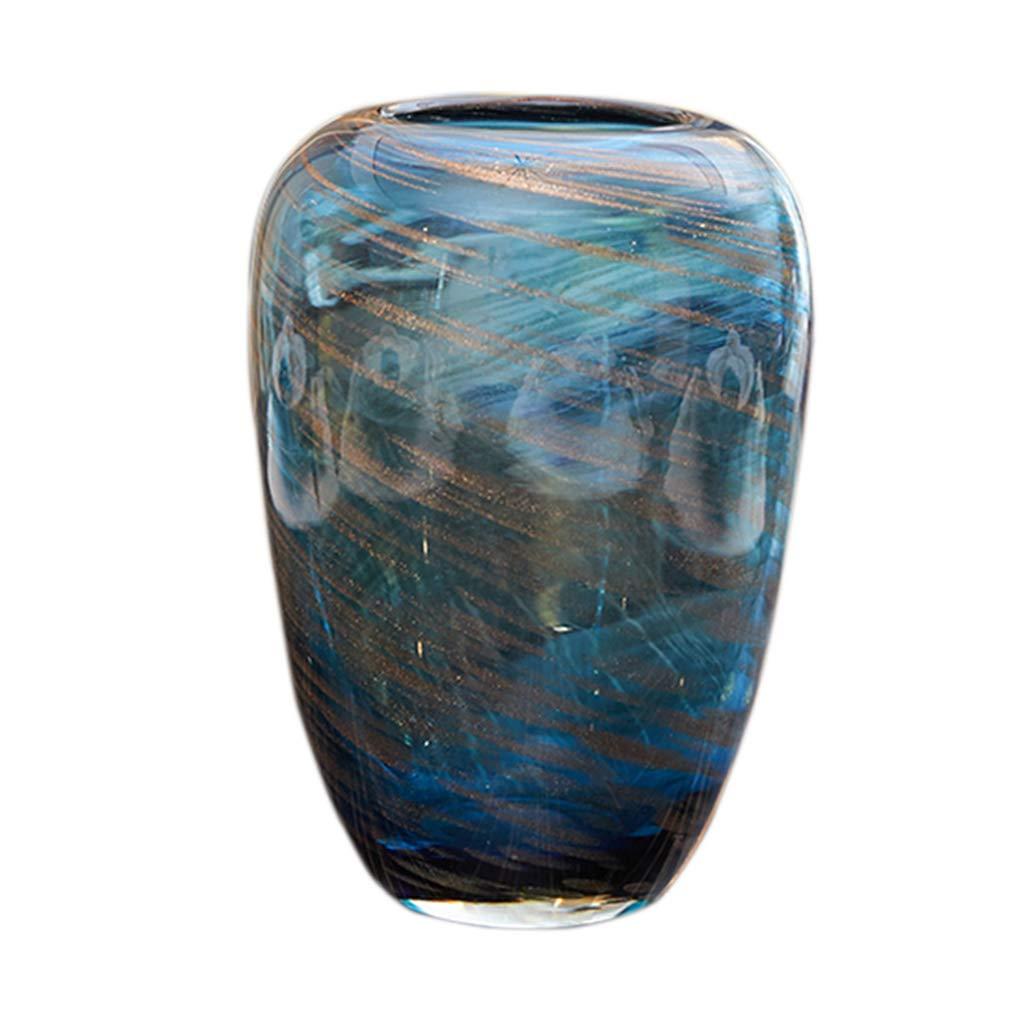 フラワーベース花器 花瓶コンテナガラスジュエリーギフトの装飾モダンミニマモデルルーム透明な装飾のリビングルームフラワーアレンジメントテーブルライト豪華な家の装飾 (Color : Blue, Size : 26*18*18cm) B07SW4PMQM Blue 26*18*18cm