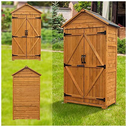 Garden and Outdoor MCombo Outdoor Wooden Storage Cabinet Backyard Garden Shed Tool Sheds Utility Organizer with Lockable Double Doors 6056… outdoor storage sheds