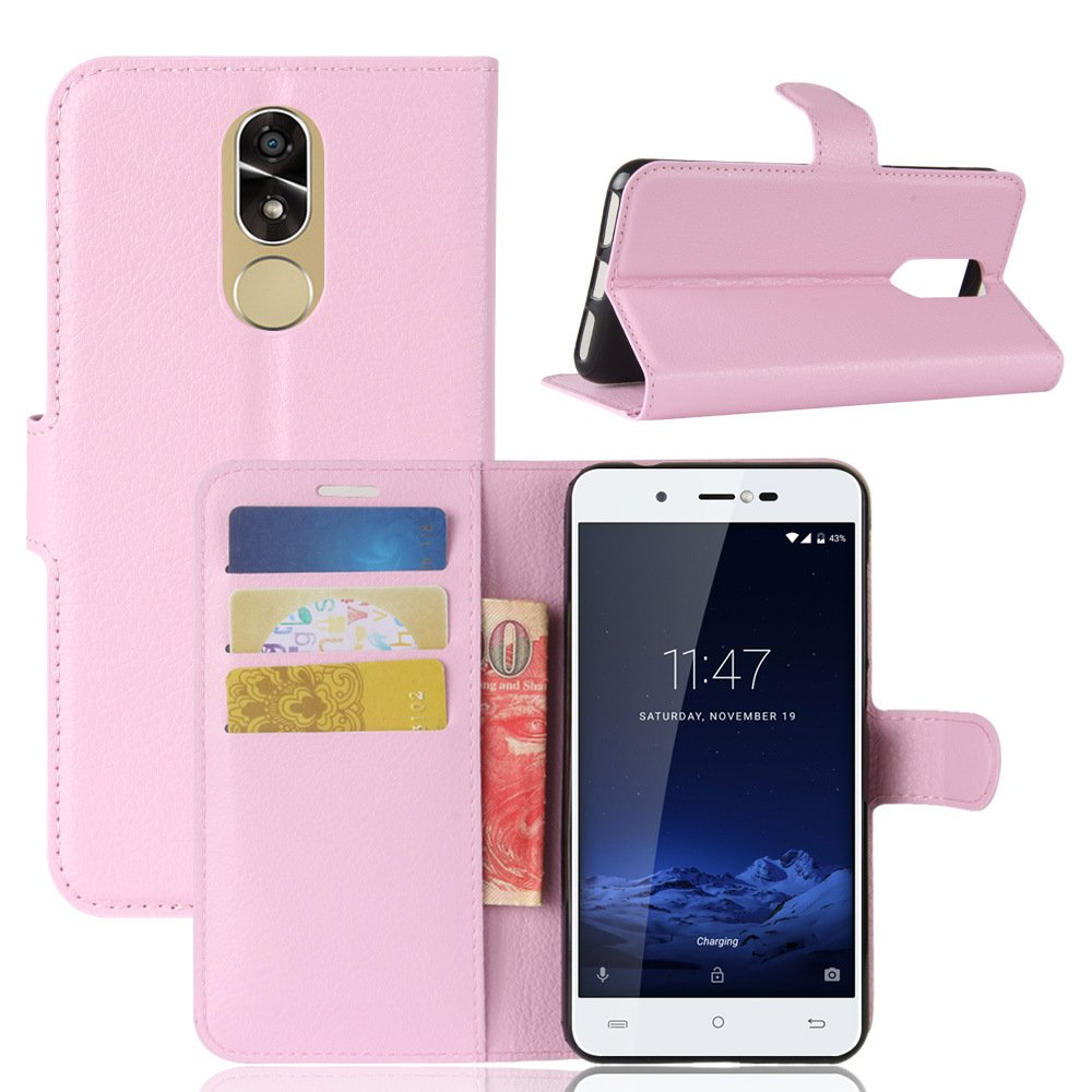 Cubot Note Plus Case GOGODOG Ultra Slim Leather Bumper Full Body Protection Wallet Business Style with Stand Function and Auto Sleep Wake Up for Cubot Note Plus (Pink) good