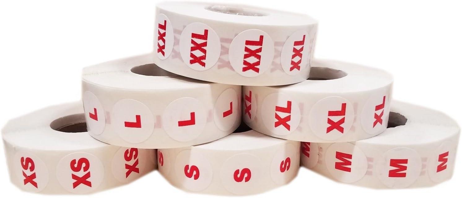 L XS 6000 Round Clothing Size Dot Sticker Bundle S 1000 Per Roll M XL /& 2XL
