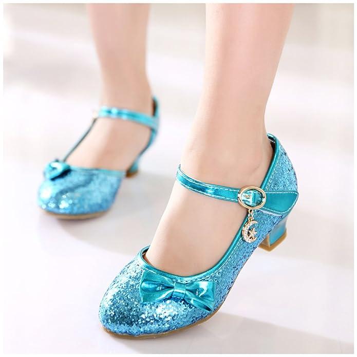 Freefisher Free Fisher Antideslizante Merceditas Zapatos de Boda Fiesta Baile, Diseño Brillante con Tacón Bajo Para Niñas, Azul, 226