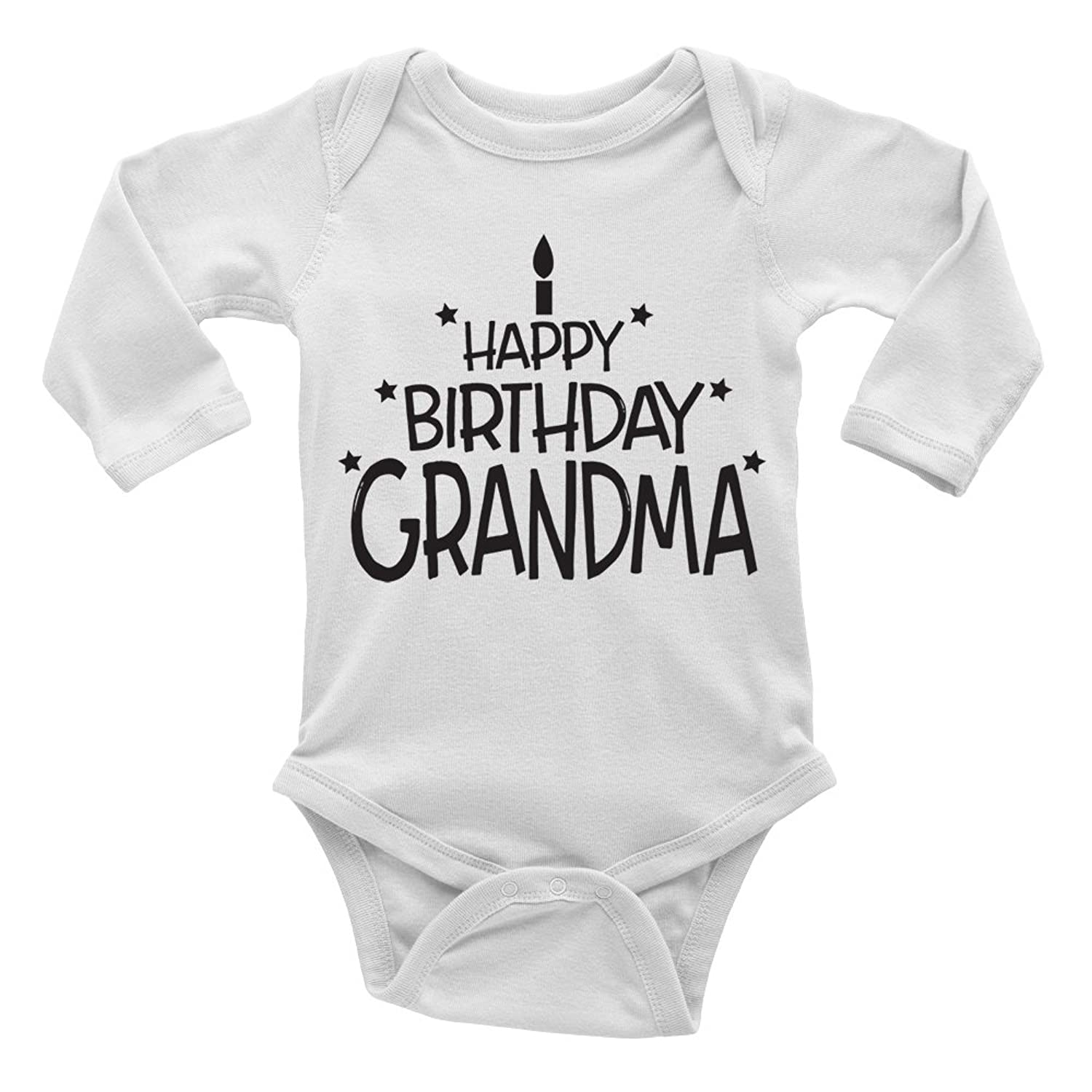 Happy Birthday Grandma Cute Boys and Girls Long Sleeve Baby Vest