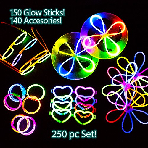 Price comparison product image 290 PC Glow Stick Party Favor Toy Pack | 150 Glow Sticks | 140 Accessories, Glow Frisbee, Glasses, Flowers, Balls and Bracelets, 8 Bonus Glow Rings