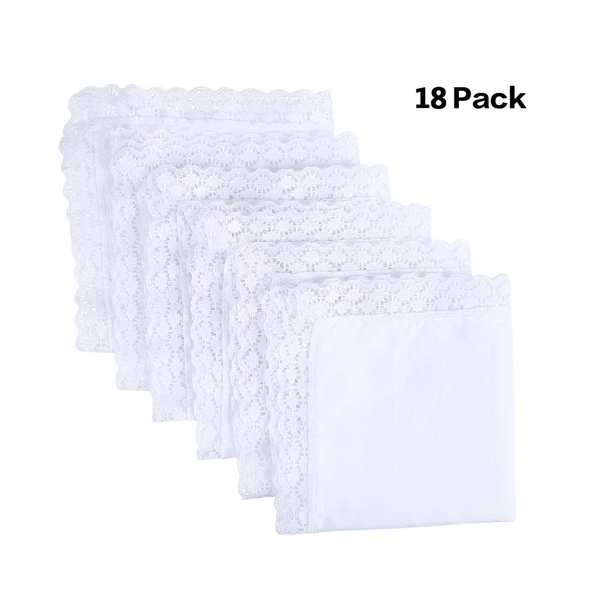 Houlife 100% Cotton Women's Pure White Handkerchief with Lace Edges (18Pcs)