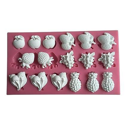 Karen Baking Fruta Molde de silicona de fundente 3D Molde las herramientas de la torta Decoración