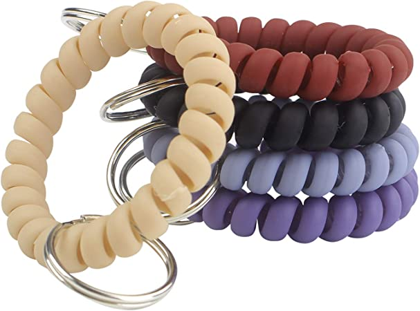 5 Piece Coil Bracelet Keychain Colorful Pattern Mix Mixed Lot of 5