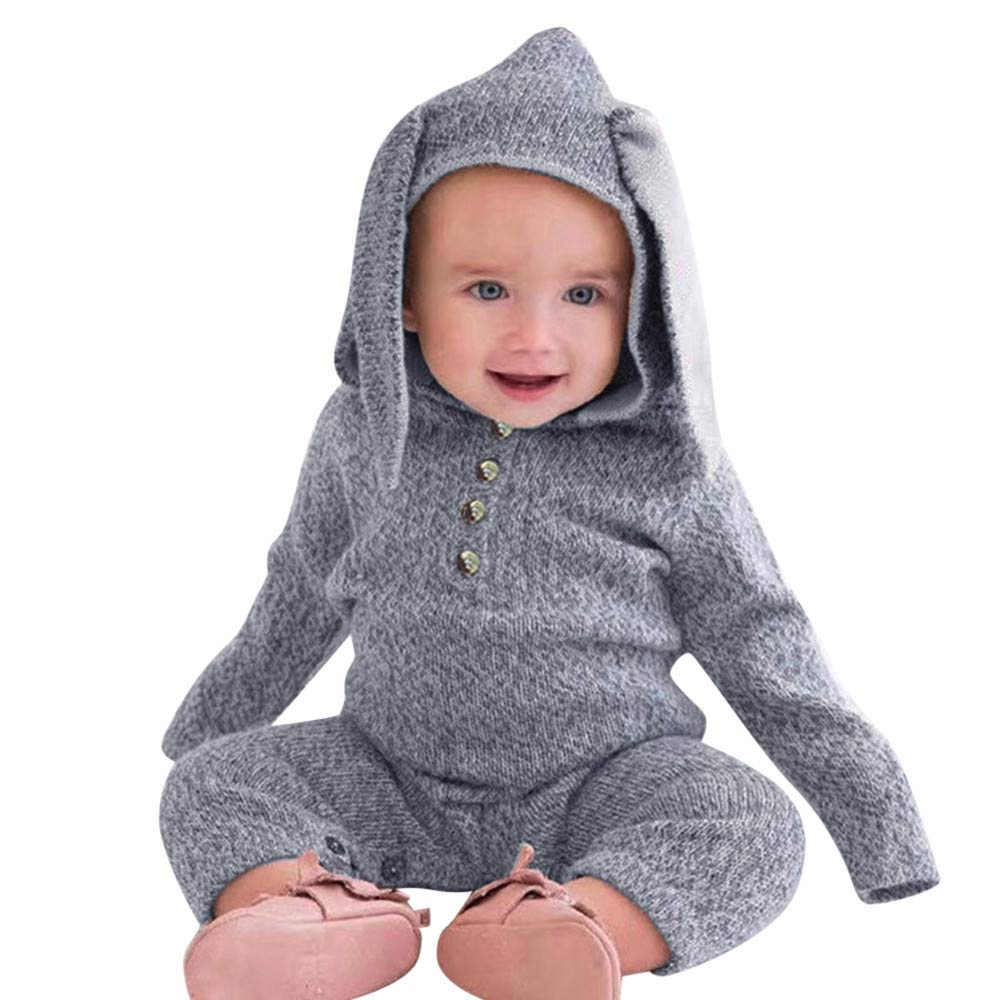 12547f81d352 NUWFOR Infant Toddler Baby Boy Girls Bunny Ears Hoodie Romper ...