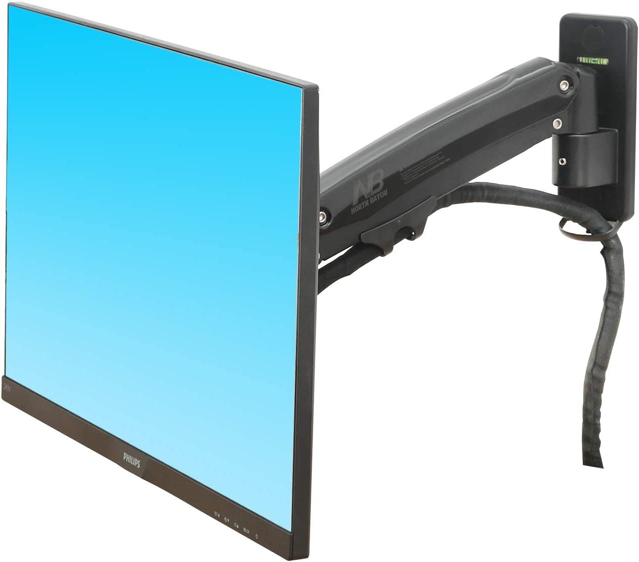 """NB North Bayou Monitor TV Wall Mount Bracket LED LCD TV Mount Gas Strut Arm Fits 27""""- 45"""" Computer Monitors or TV Within 6.6lbs to 28.6 lbs"""