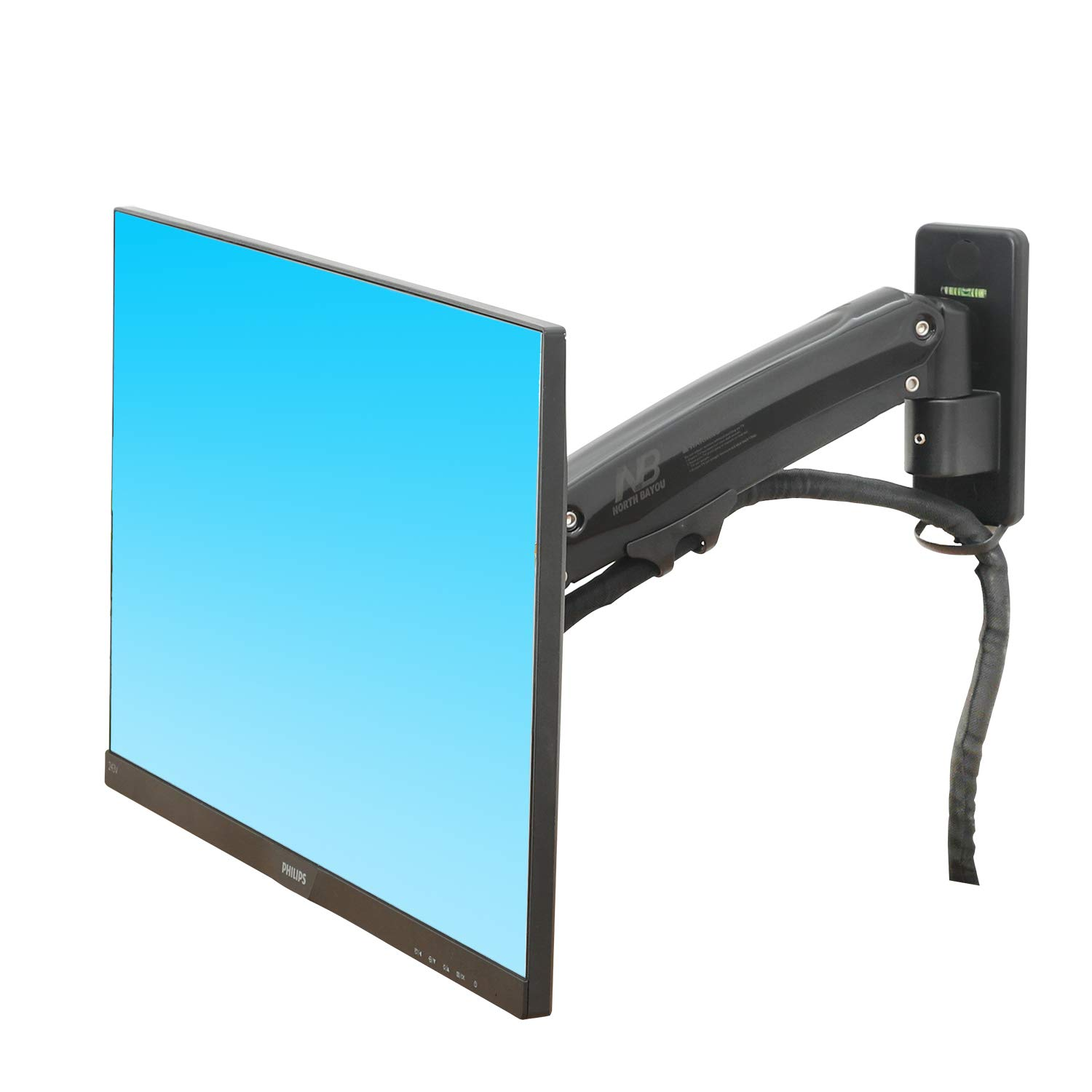 NB North Bayou Monitor TV Wall Mount Bracket LED LCD TV Mount Gas Strut Arm Fits 27''- 45'' Computer Monitors or TV Within 6.6lbs to 28.6 lbs