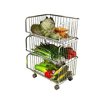 FTM® Cesta De Almacenamiento De Frutas Y Verduras, Carro De Almacenamiento De Acero Inoxidable