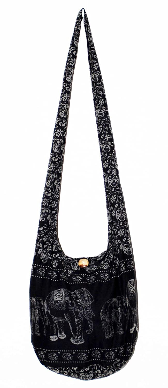 00162c3ddb Elephant Classics Cotton Printed Cross Body Sling Shoulder Hobo Boho Hippie Purse  Bag Black 34