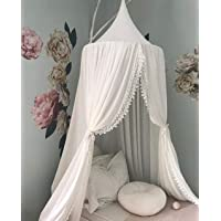 Princess Bed Canopy Mosquito Net for Kids Baby Crib, Round Dome Kids Indoor Outdoor Castle Play Tent Hanging House Decoration Reading nook Cotton Canvas