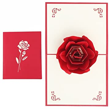 3D Pop UP Greeting Cards Fantastic Flower Handmade Gift Card Origami Kirigami For Valentines Day