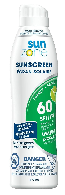 SunZone SPF 60 Family Sunscreen Spray – 177ml 25141