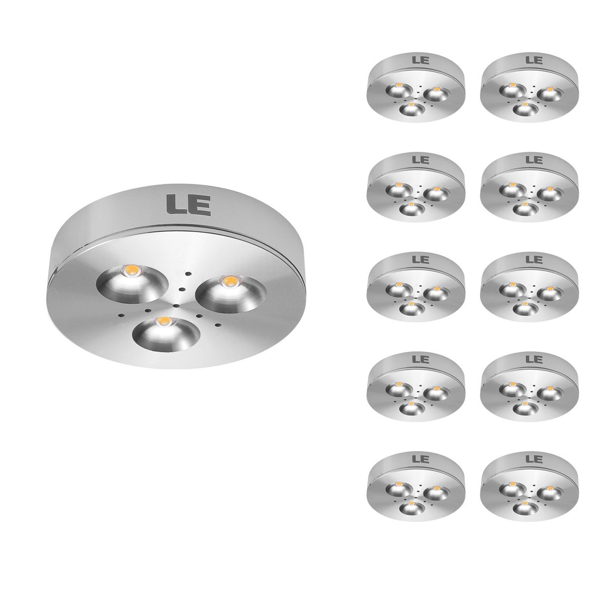 le 10 pack led under cabinet lighting puck lights 12v dc under counter lighting 25w halogen replacement 240lm warm white amazoncom cabinet lighting puck light