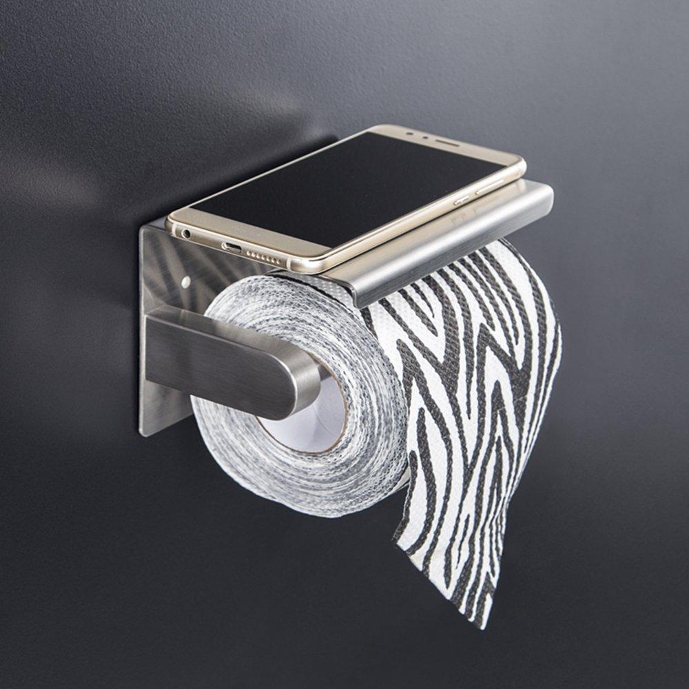 pour Salle de Ba Porte-Rouleau de Papier WC avec Support de T/él/éphone Per/çage Sac de Fixation L/&HM Porte-Papier Toilette Mural avec Etag/ère de Rangement en 304 Acier Inoxydable Sans Per/çage Adh/ésif 3M Autocollant