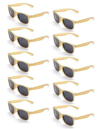 ONNEA 10 Piezas Gafas de Sol Fiesta Colores Paquete Años 80 (Dorado 10-Paquete)