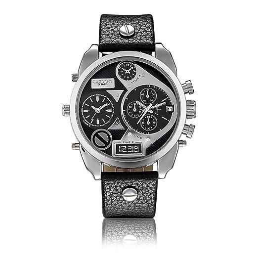 Cagarny Big Dial cuarzo reloj hombres tienda explosiones Creative hombres de Big Dial Dual tiempo zona correa reloj: Amazon.es: Relojes